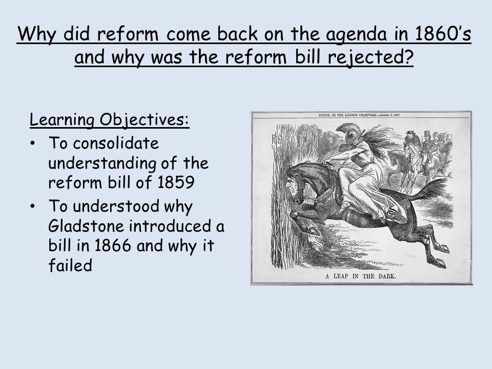 Why did reform come back on the agenda in 1860's and why was the reform bill rejected