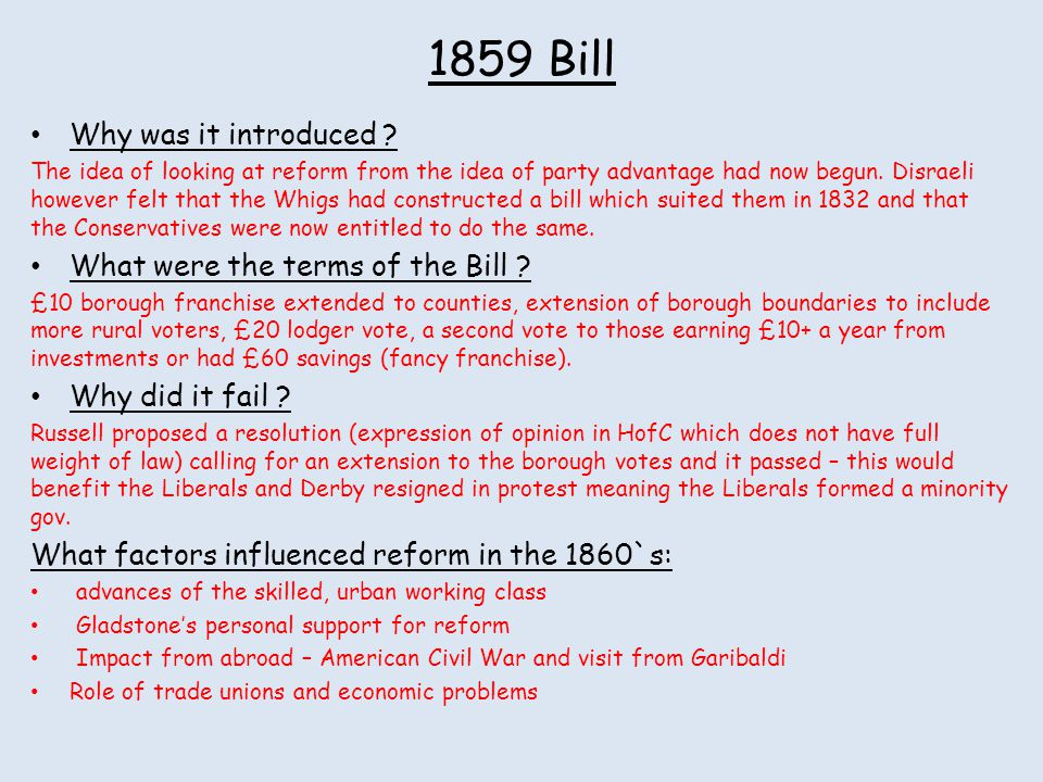 1859 Bill Why was it introduced What were the terms of the Bill