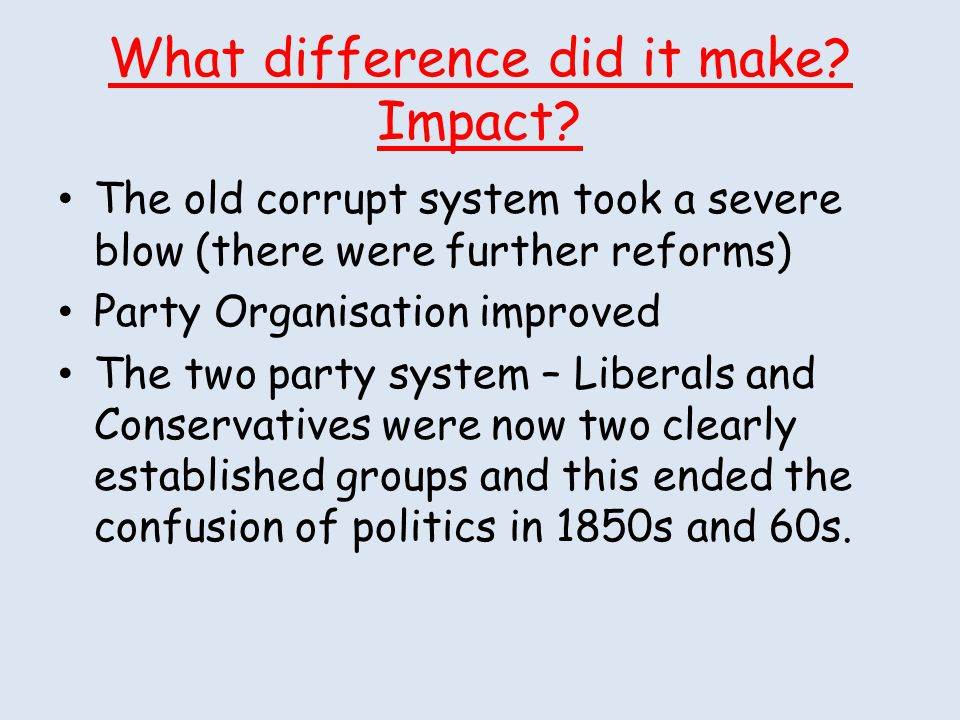 What difference did it make Impact