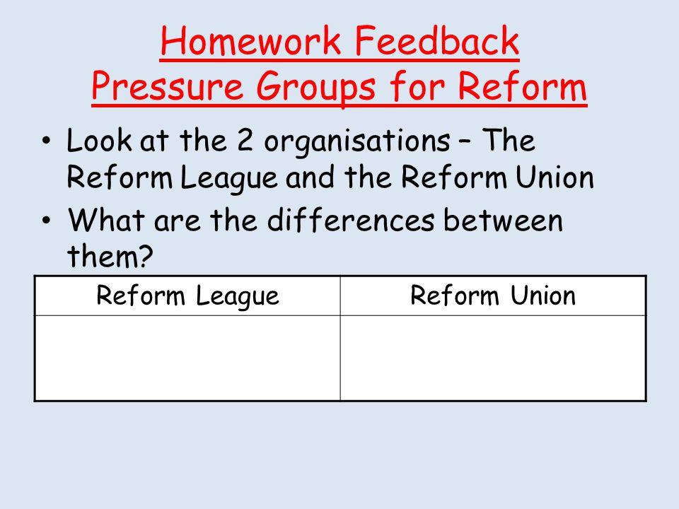 Homework Feedback Pressure Groups for Reform