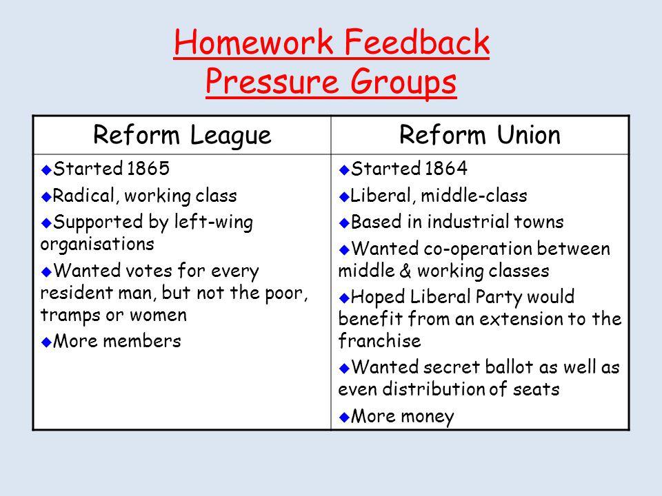 Homework Feedback Pressure Groups
