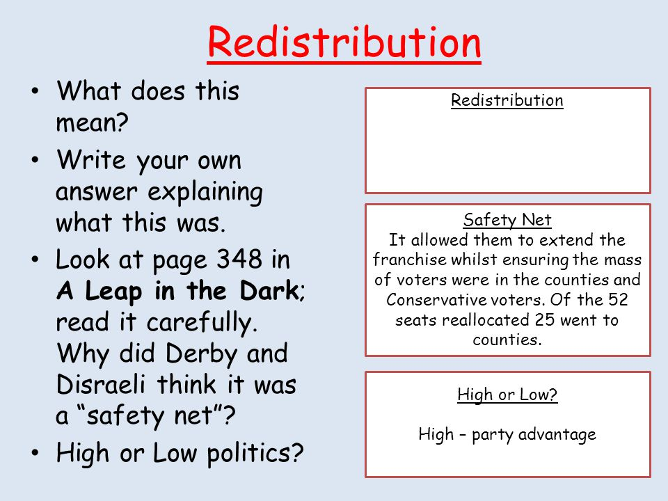 Redistribution What does this mean