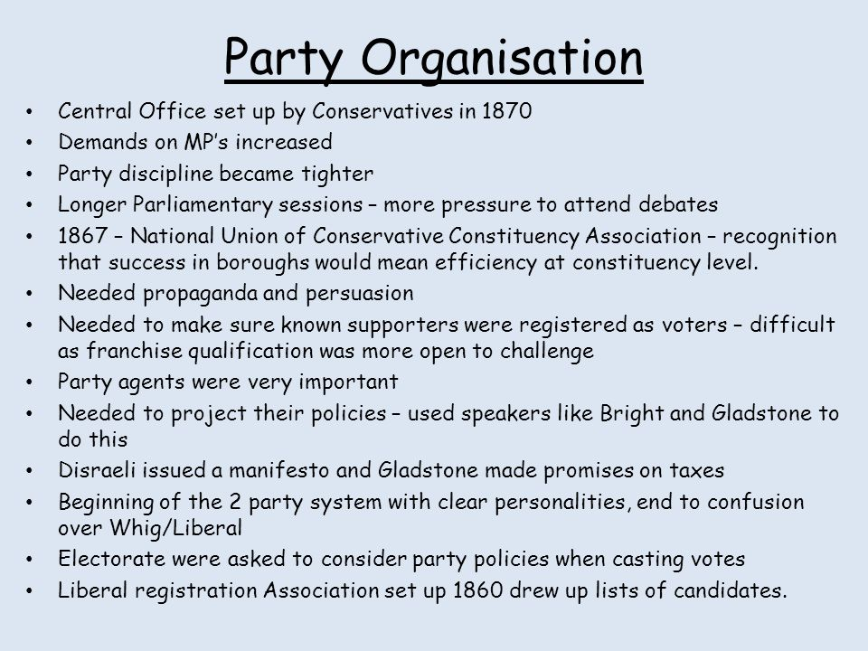 Party Organisation Central Office set up by Conservatives in 1870