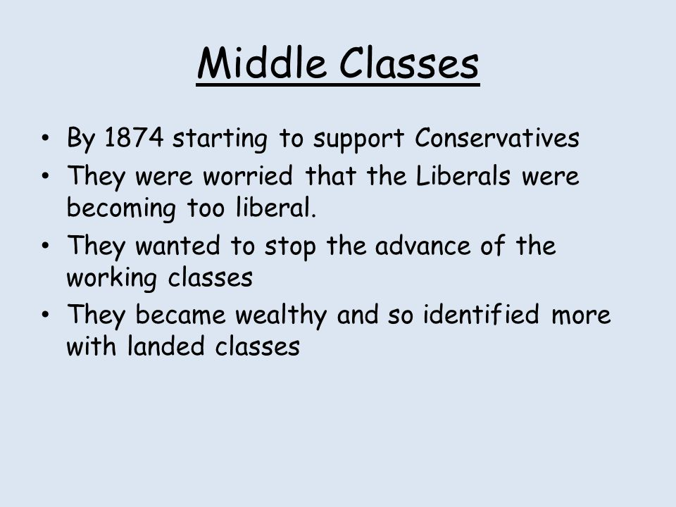 Middle Classes By 1874 starting to support Conservatives