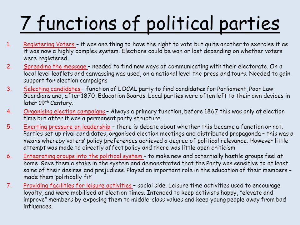 7 functions of political parties
