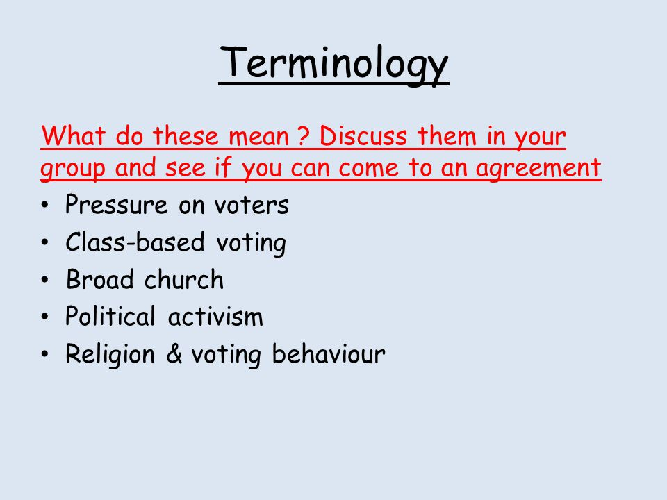 Terminology What do these mean Discuss them in your group and see if you can come to an agreement.