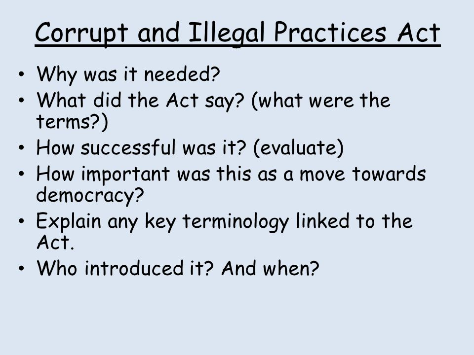 Corrupt and Illegal Practices Act