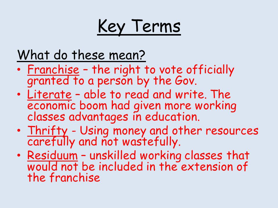 Key Terms What do these mean