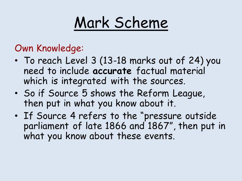 Mark Scheme Own Knowledge: