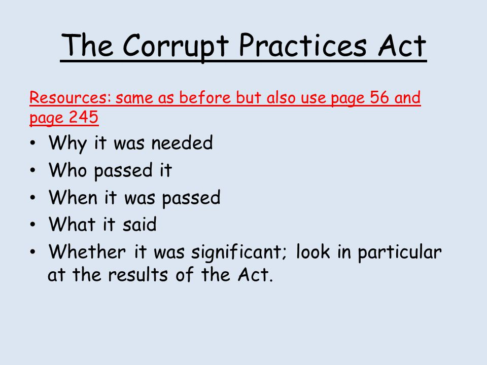 The Corrupt Practices Act