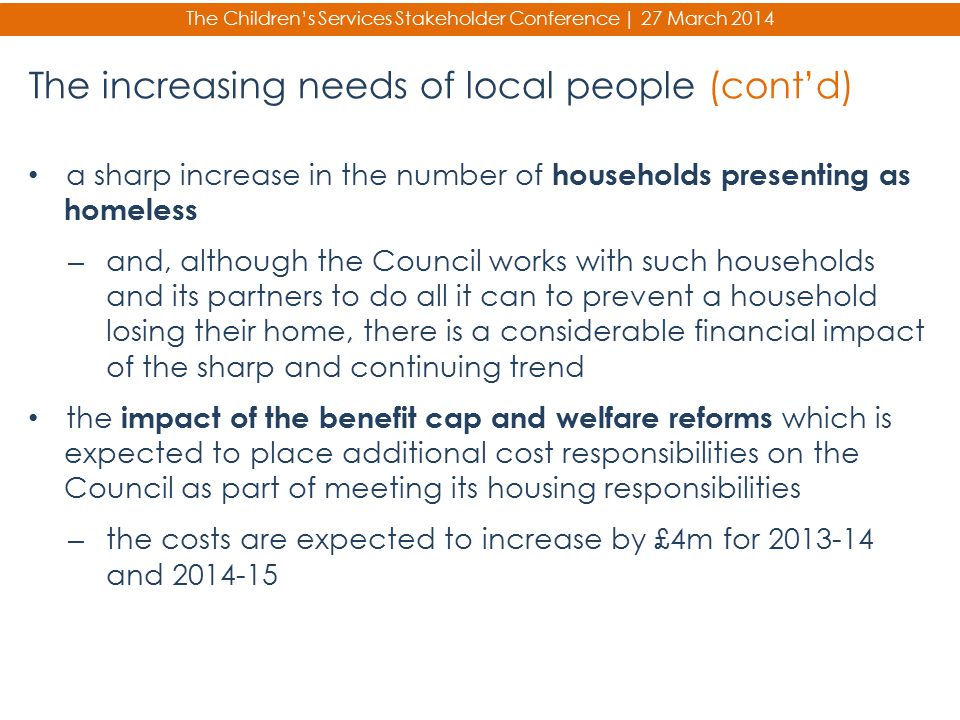 The increasing needs of local people (cont'd)
