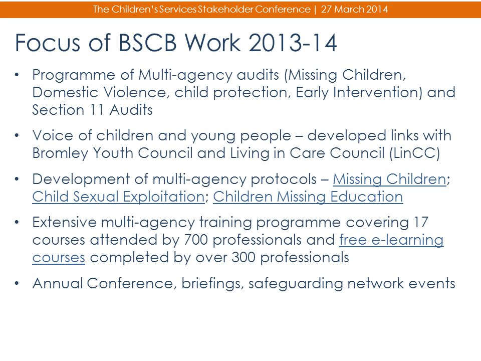 The Children's Services Stakeholder Conference | 27 March 2014