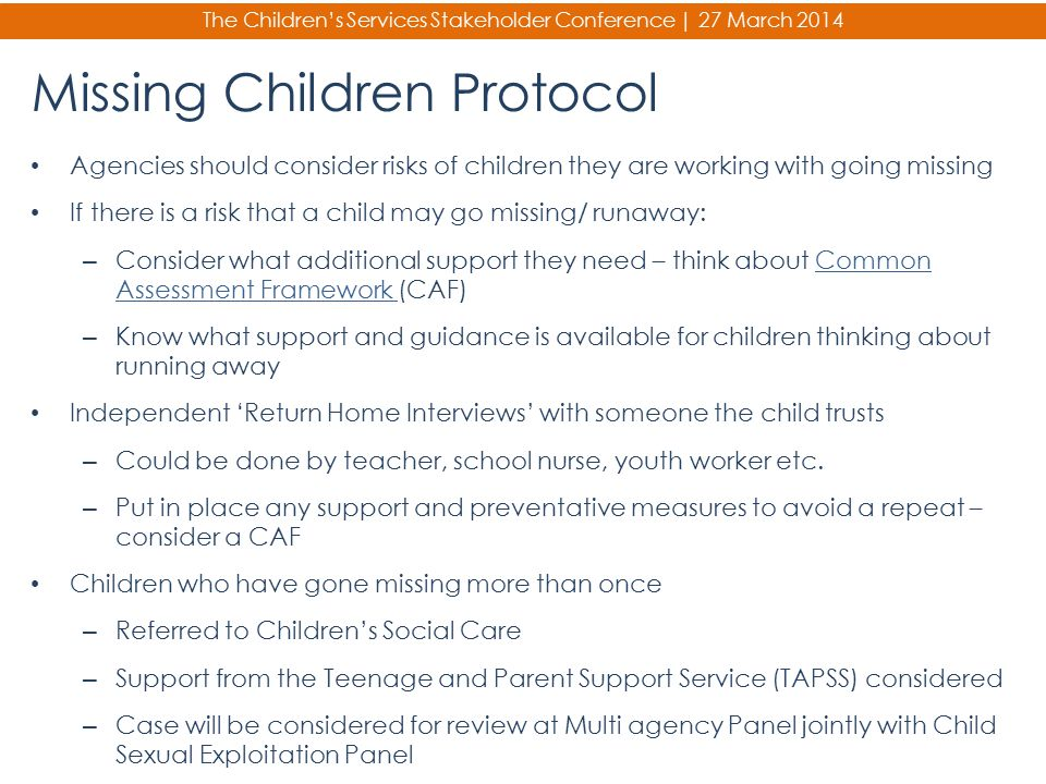 Missing Children Protocol