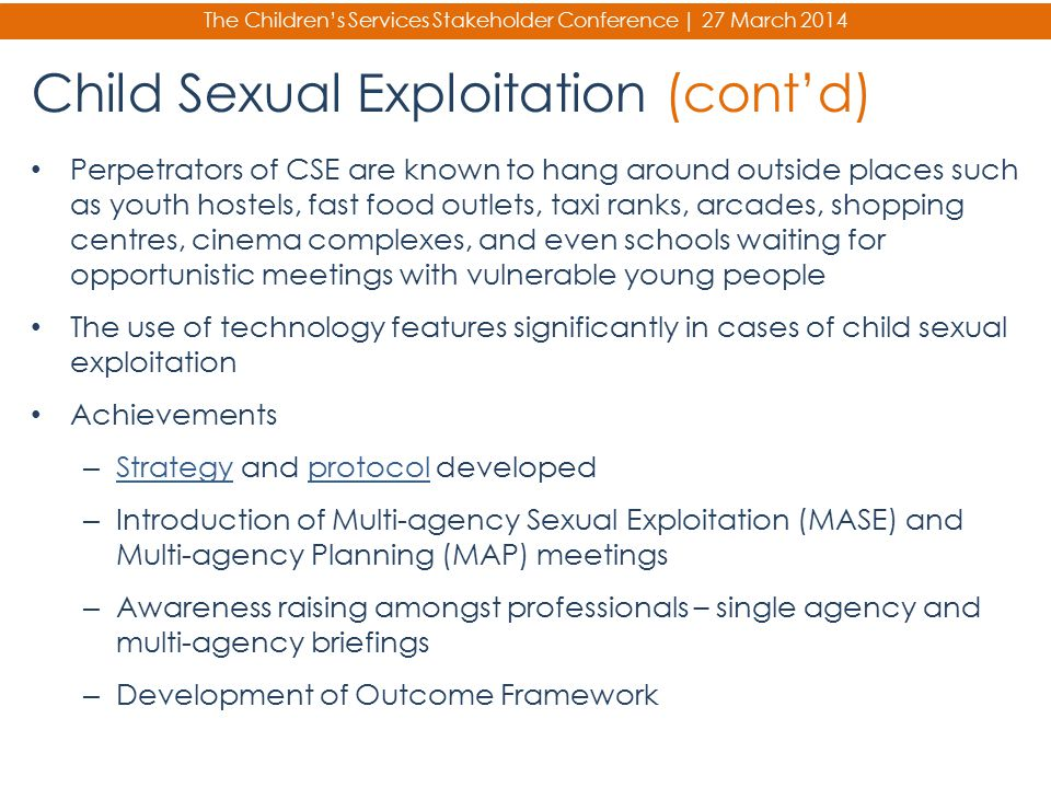 Child Sexual Exploitation (cont'd)