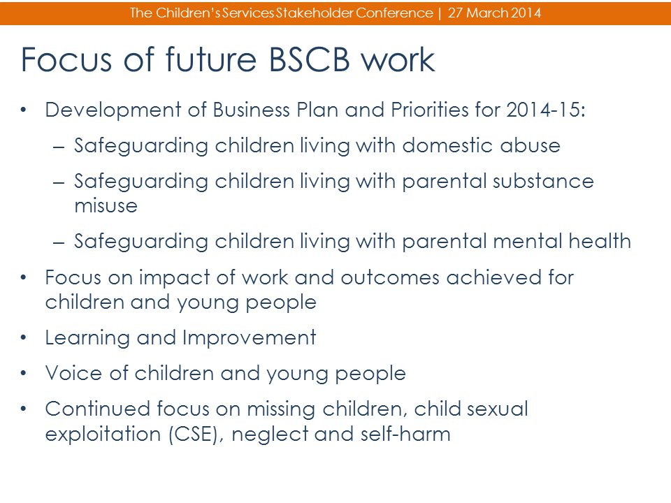 Focus of future BSCB work