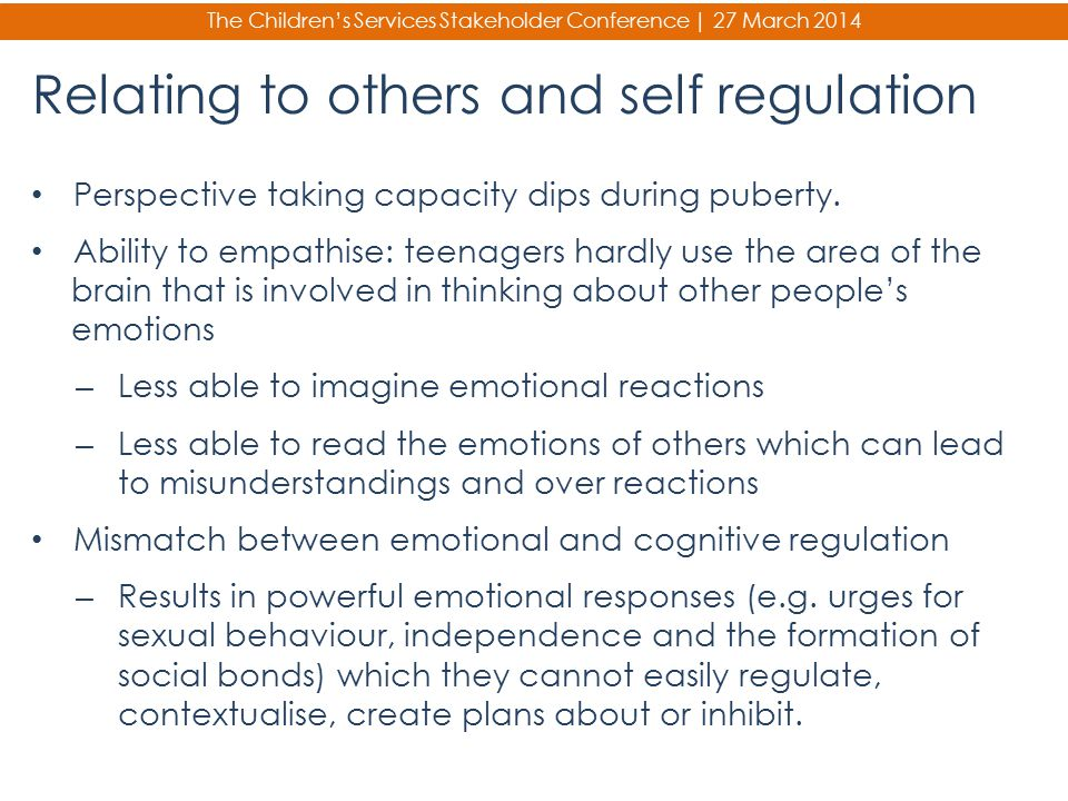 Relating to others and self regulation