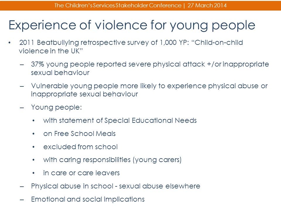 Experience of violence for young people