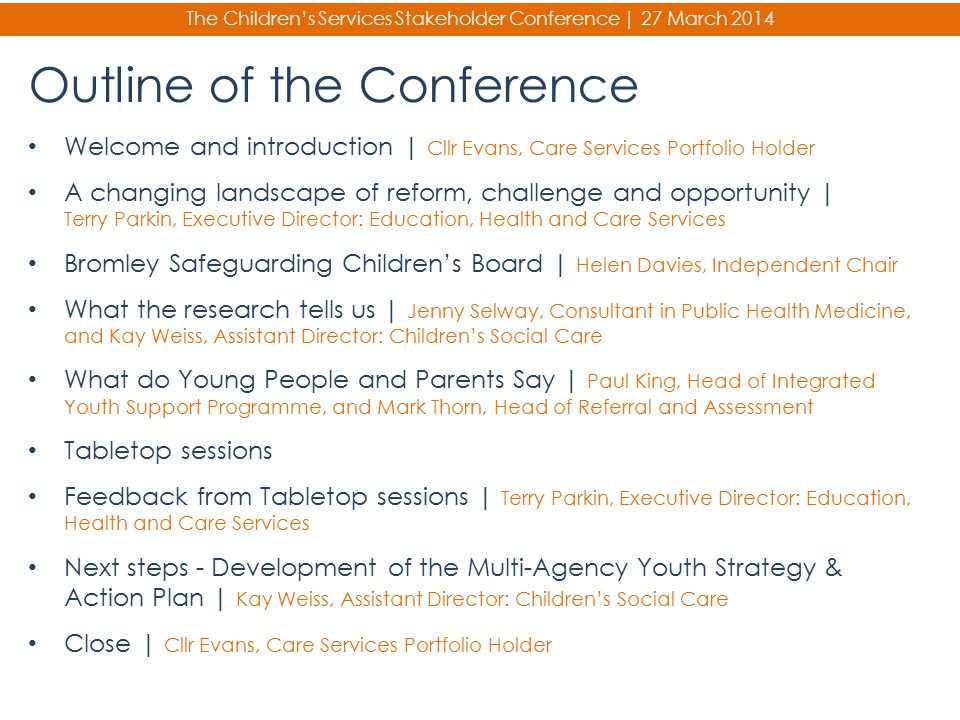 Outline of the Conference