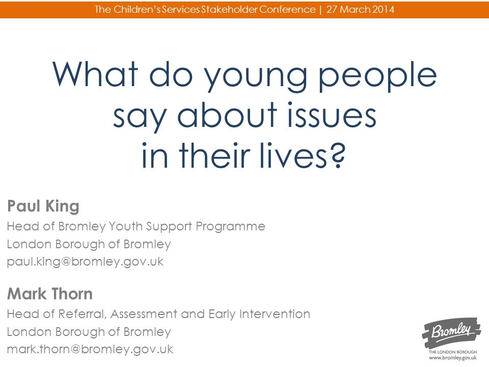 What do young people say about issues in their lives