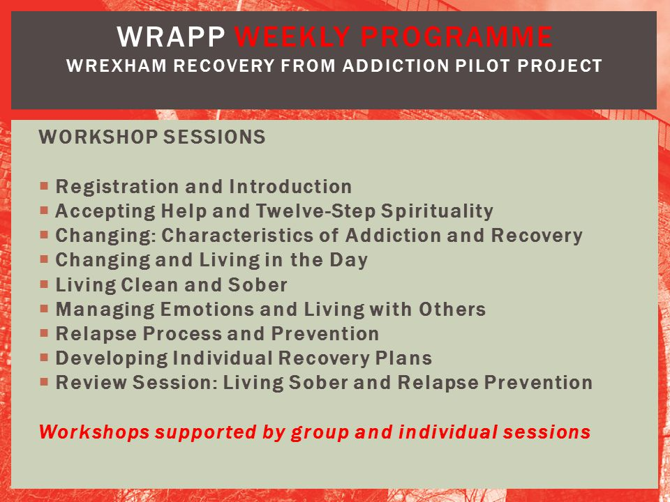 WRAPP weekly PROGRAMME Wrexham Recovery from Addiction Pilot Project