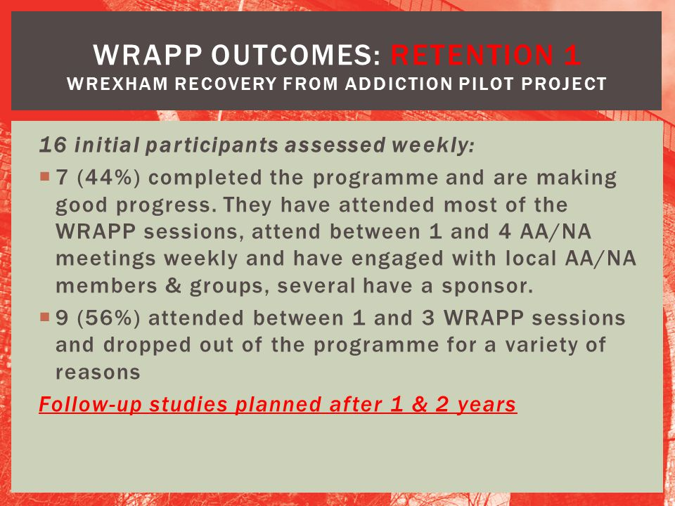 WRAPP OUTCOMES: RETENTION 1 Wrexham Recovery from Addiction Pilot Project
