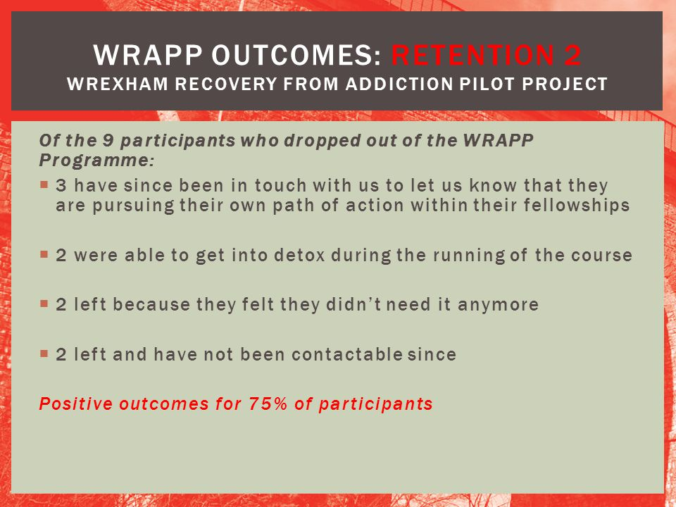 WRAPP OUTCOMES: RETENTION 2 Wrexham Recovery from Addiction Pilot Project
