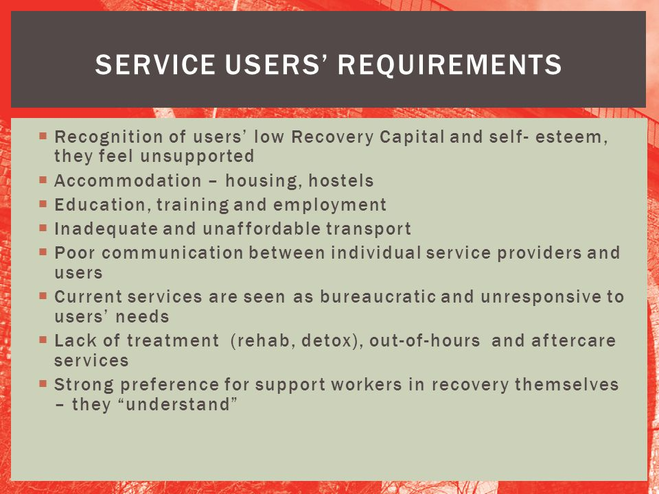 Service users' requirements