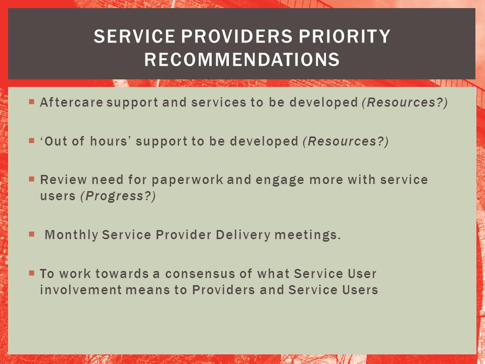 Service providers Priority recommendations