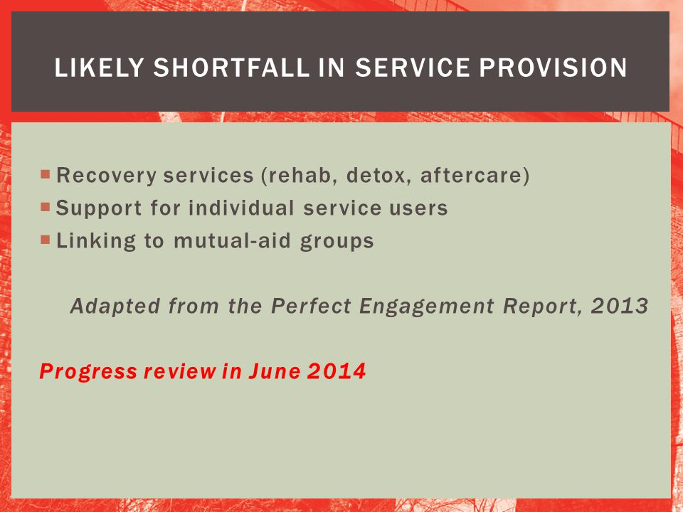 Likely shortfall in service provision