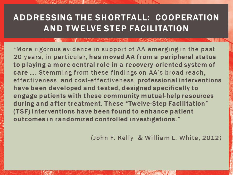 ADDRESSING THE SHORTFALL: COOPERATION AND TWELVE STEP FACILITATION