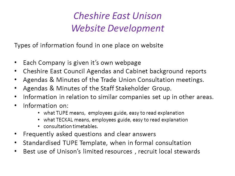 Cheshire East Unison Website Development