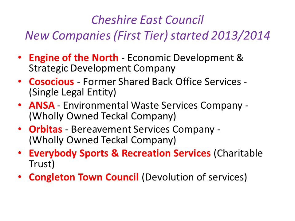 Cheshire East Council New Companies (First Tier) started 2013/2014