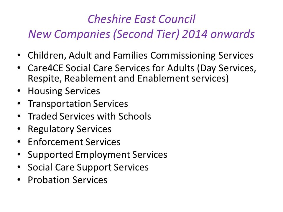 Cheshire East Council New Companies (Second Tier) 2014 onwards