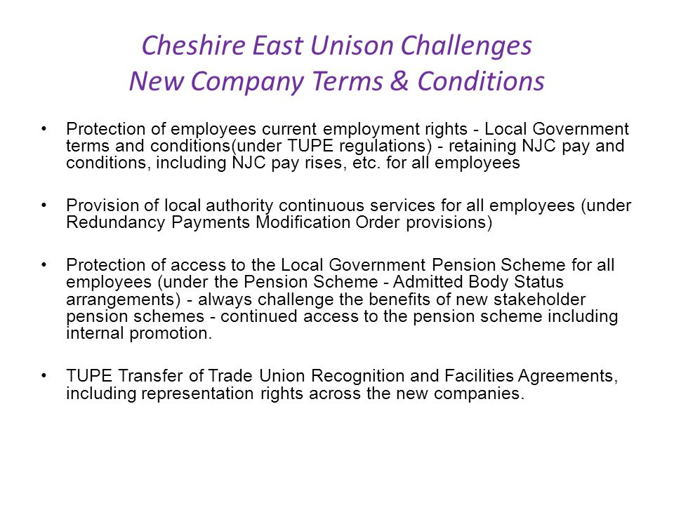 Cheshire East Unison Challenges New Company Terms & Conditions