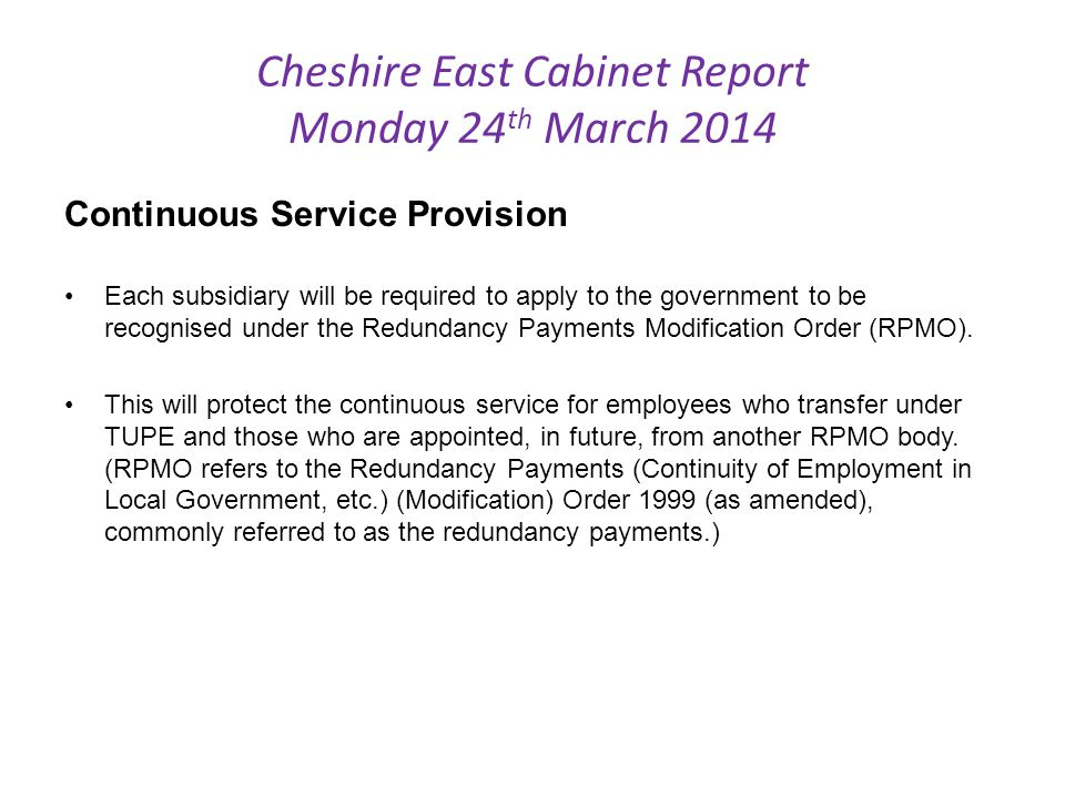 Cheshire East Cabinet Report Monday 24th March 2014