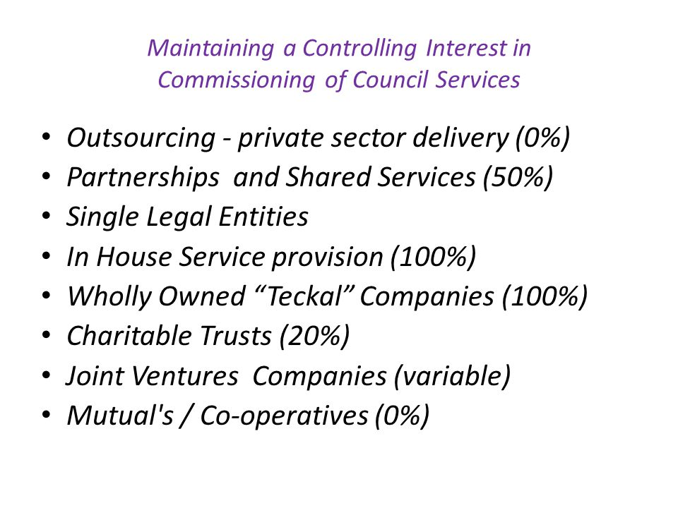 Outsourcing - private sector delivery (0%)