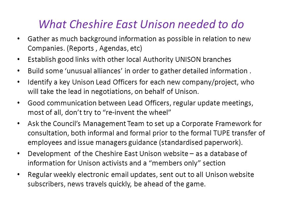 What Cheshire East Unison needed to do