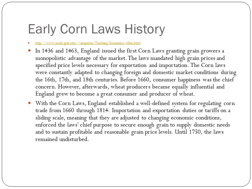 Early Corn Laws History