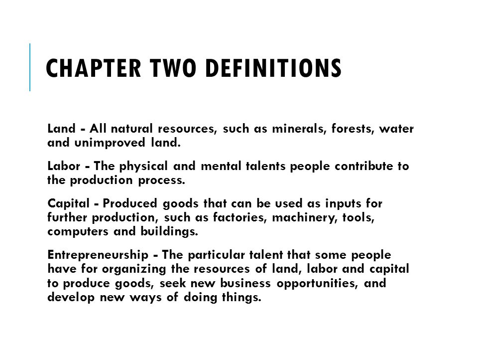 Chapter Two Definitions