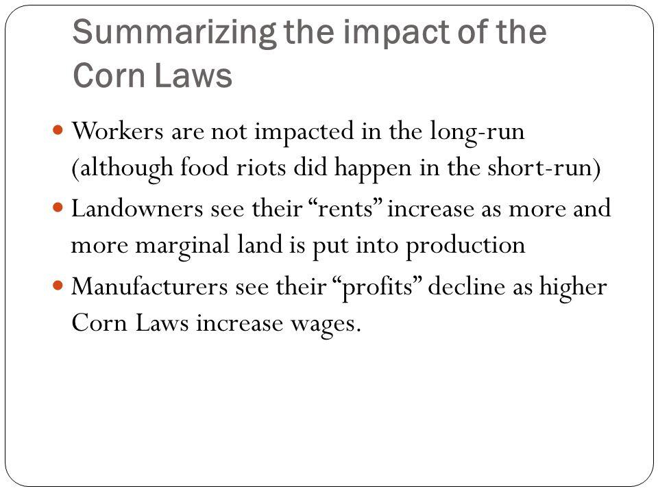Summarizing the impact of the Corn Laws