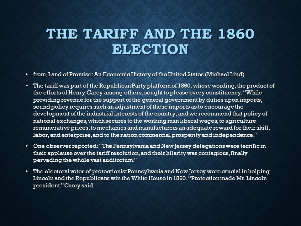 The Tariff and the 1860 Election