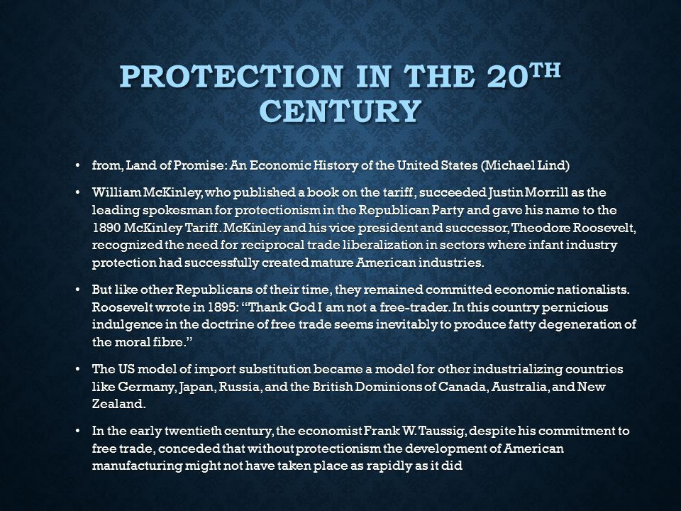 Protection in the 20th century