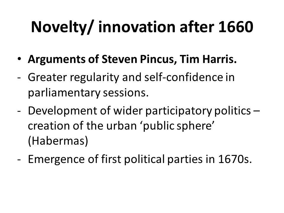 Novelty/ innovation after 1660