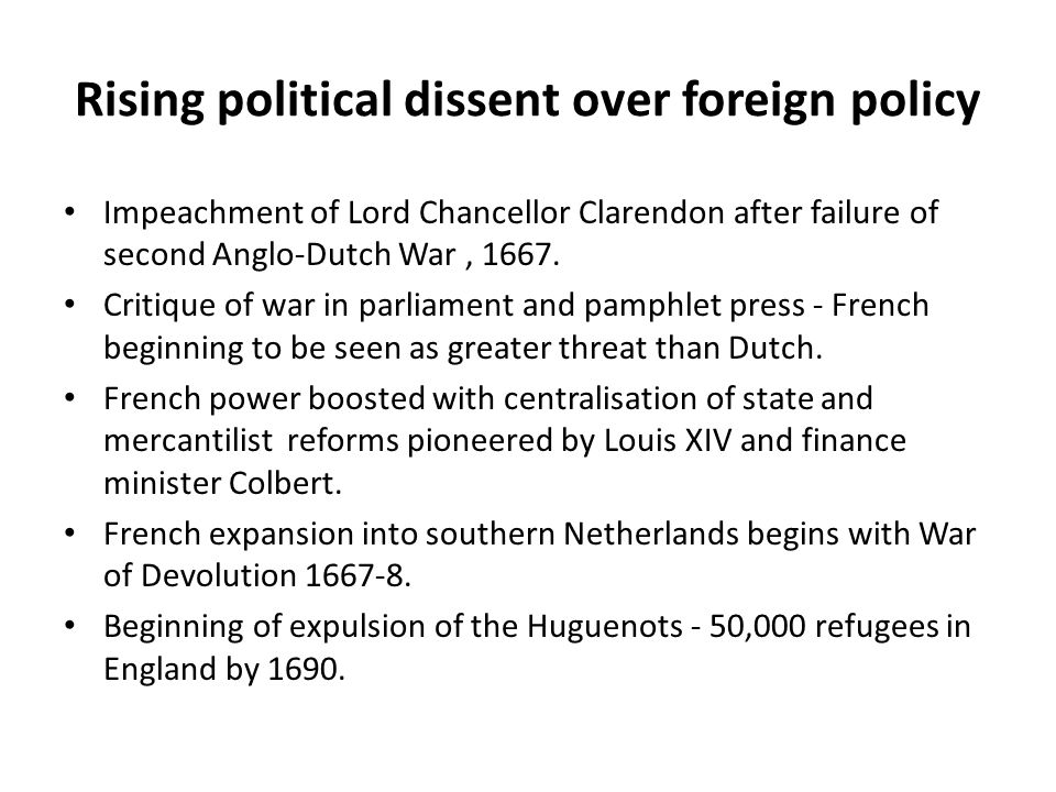 Rising political dissent over foreign policy