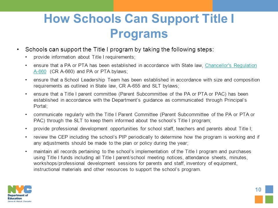 How Schools Can Support Title I Programs