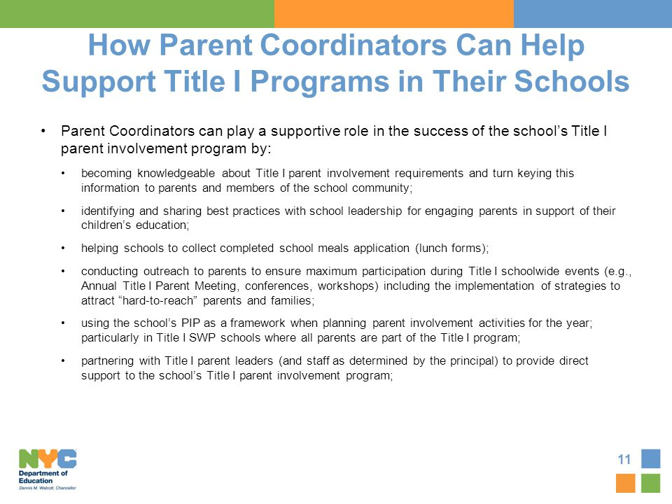 How Parent Coordinators Can Help Support Title I Programs in Their Schools