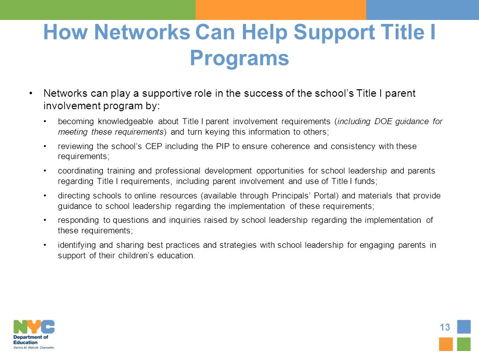 How Networks Can Help Support Title I Programs
