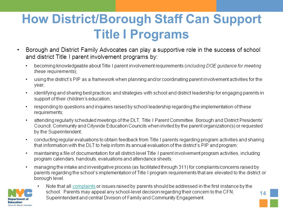 How District/Borough Staff Can Support Title I Programs