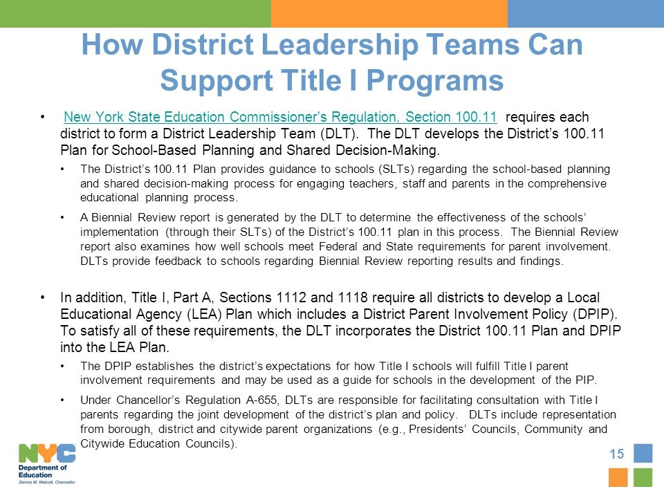 How District Leadership Teams Can Support Title I Programs