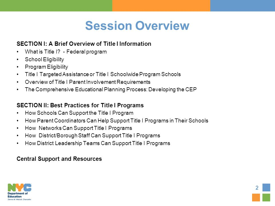 Session Overview SECTION I: A Brief Overview of Title I Information